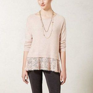 Knitted&Knotted pastel pink lace trim cashmere ble